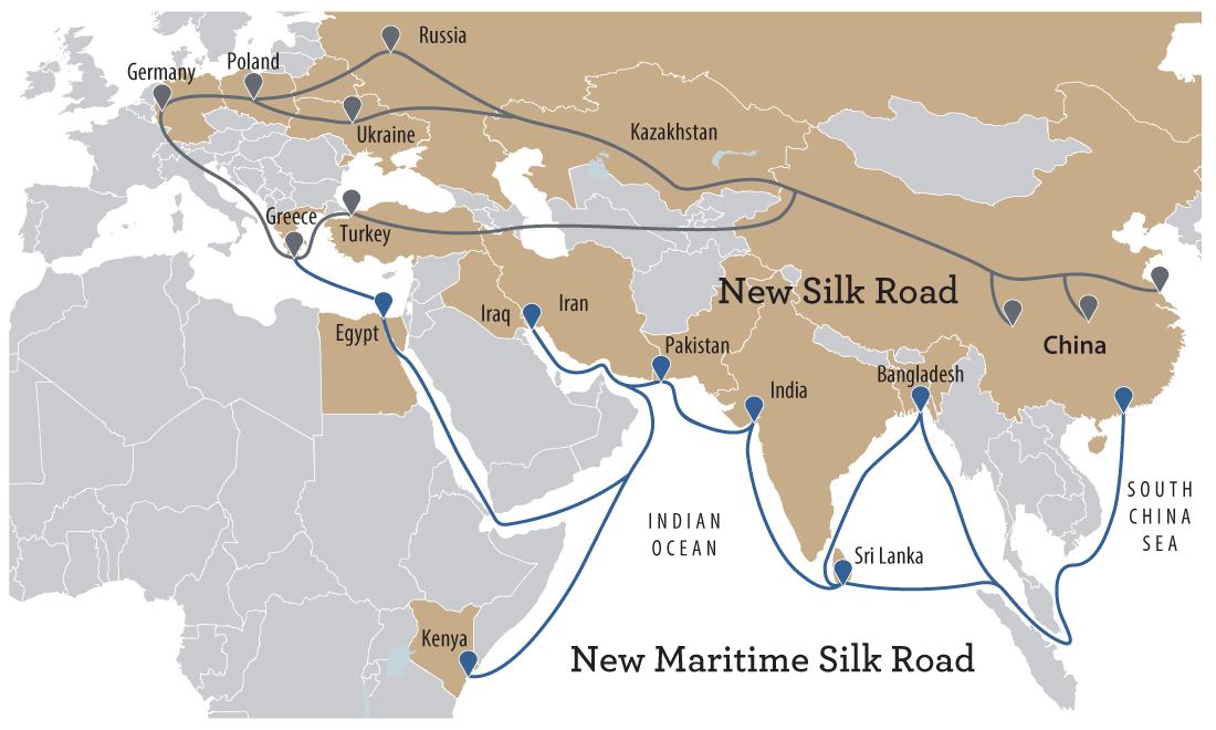 Map of the Belt and Road Initiative — which is also known as New Silk Road Plan — that will create overland routes and maritime routes in China.