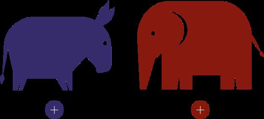 Illustration representing democrats and republicans